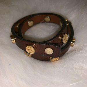 Tory Burch Gold and Leather wrap bracelet